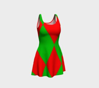 Christmas Harlequin Diamond Flare Dress preview