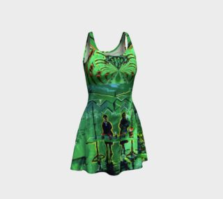 Emerald City Shiny-Look Green Flare Dress preview