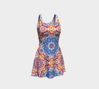 Blue and Orange Kaleidoscope Flare Dress preview