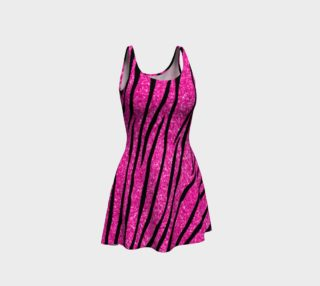 Faux neon hot pink glitter zebra stripes dress preview