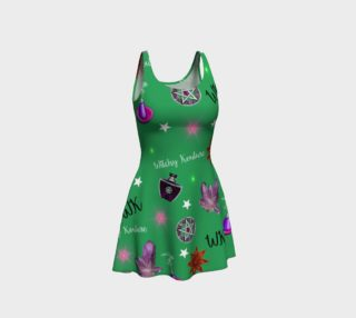 WK #ModernWitchLife Green Print Flare Dress preview