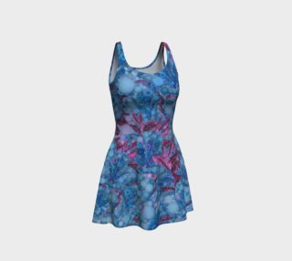 Blue Pink Abstract Floral Flare Dress  preview