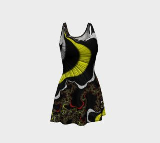 Yellow Black Fractal Flare Dress  preview