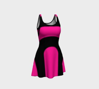 Hot Pink Black Pattern Flare Dress  preview