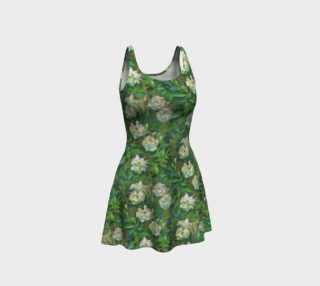 Aperçu de White Roses Green Leaves Flare Dress