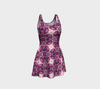 Burgundy Peonies Flare Dress preview