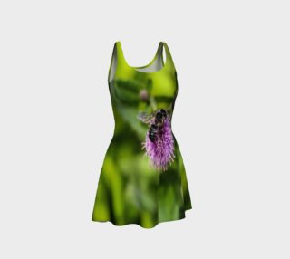 A Bee on a Purple Flower Flare Dress preview
