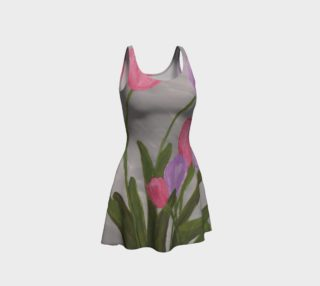 Pink and Purple Tulips Flare Dress preview