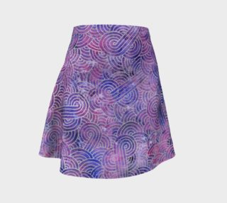 Purple and faux silver swirls doodles Flare Skirt aperçu