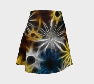 Blue and Yellow Fractal daisies Flare Skirt aperçu