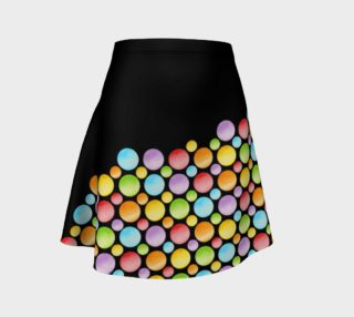 Rainbow Polka Dots Flare Skirt placement preview