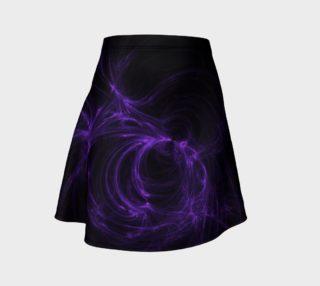 Purple Fractal on Black Flare Skirt preview