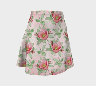 Bold Red Green Wild Rose Floral Flare Skirt preview