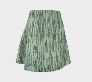 Aperçu de Blue Green Black Nature Floral Flare Skirt