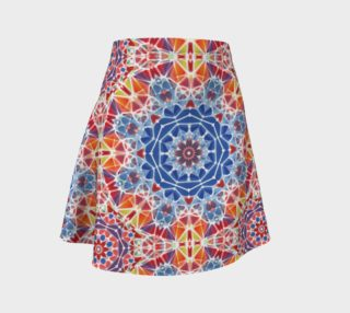 Blue and Orange Kaleidoscope Flare Skirt preview