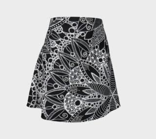 Black and White Mandala Pattern Flare Skirt preview