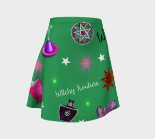 WK #ModernWitchLife Green Print Flare Skirt preview