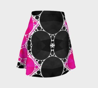Pink Black Printed Bling Flare Skirt  preview