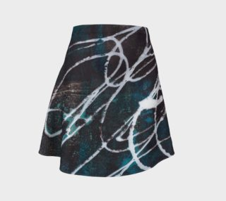 blue and black with white writing flare skirt aperçu