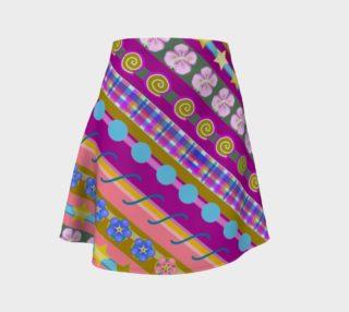 Stripe Fuchsia Flared Skirt preview