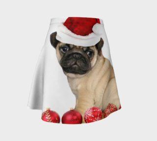 Christmas pug dog flare skirt preview