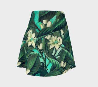 Aperçu de flare skirt flowers green white
