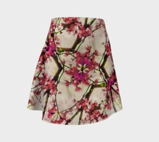 Red Deco Geometric Nature Collage Floral Motif Flare Skirt preview