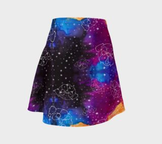 Aperçu de Pug Constellations Pink Purple Orange Flare Skirt