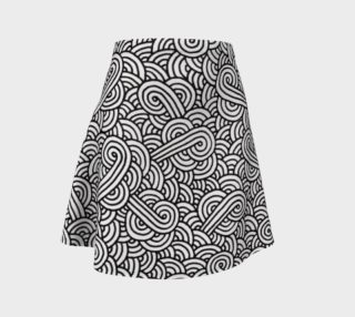 Black and white swirls doodles Flare Skirt preview