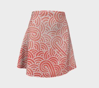 Peach echo and white swirls doodles Flare Skirt preview