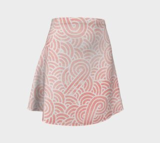 Rose quartz and white swirls doodles Flare Skirt preview