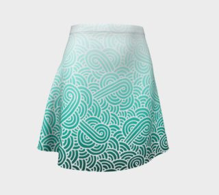 Ombre turquoise blue and white swirls doodles Flare Skirt preview