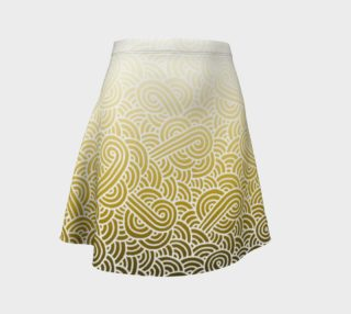 Ombre yellow and white swirls doodles Flare Skirt preview