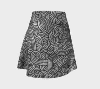 Grey and black swirls doodles Flare Skirt preview