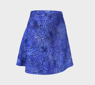 Royal blue swirls doodles Flare Skirt preview