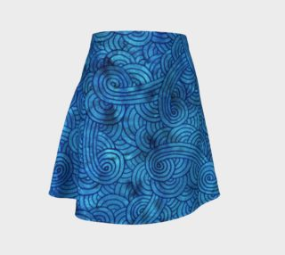 Turquoise blue swirls doodles Flare Skirt preview