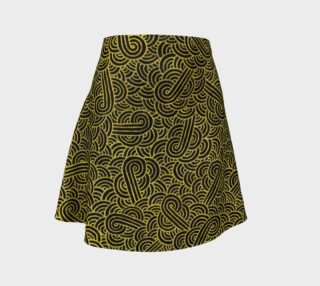 Faux gold and black swirls doodles Flare Skirt preview