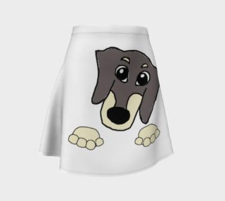 dachshund peeking blue and cream preview