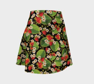 Aperçu de Strawberries on Black Flare Skirt