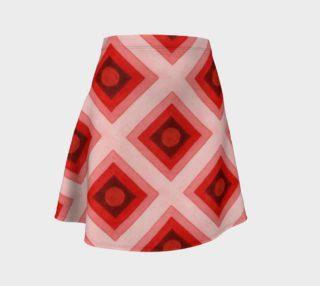 Aperçu de Red Ombre Squares Flare Skirt