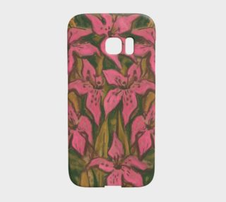 Pink Lilies, impressionistic flowers, floral art, pink & green preview