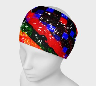 Aperçu de Fiery Colorful Grunge Squares and Stripes Headband