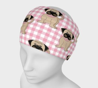 Cute Pugs on Pink Checks preview
