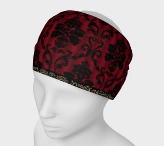 Elegant Black And Red Damask Antique Vintage Victorian Lace Headband preview