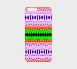 Aperçu de Purple, Green & Orange Zigzag Tribal Pattern iPhone 6 /6S Case