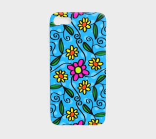 Cute Doodle Flowers - Bright Blue preview
