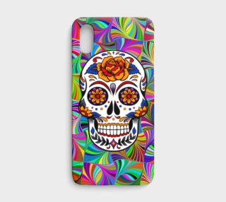 Sugar Skull with Circular Colorful Geometric Abstract iPhone X Case  preview