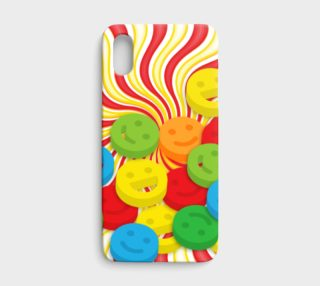 Rainbow Candy Swirls and Smiley Face Emojis iPhone X Case preview
