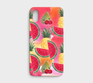 Watercolor Fruit Watermelon Pineapple Pear Cherry iPhone X Case preview