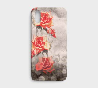 Vintage Red Grey Rose Grunge Floral iPhone X Case preview